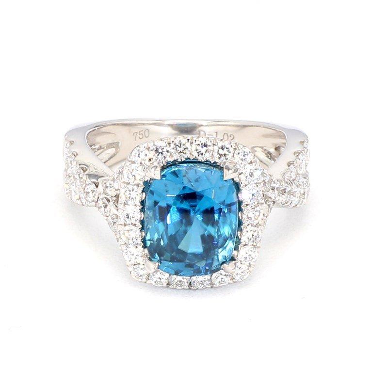 5.97ct Blue Zircon & Diamond Ring
