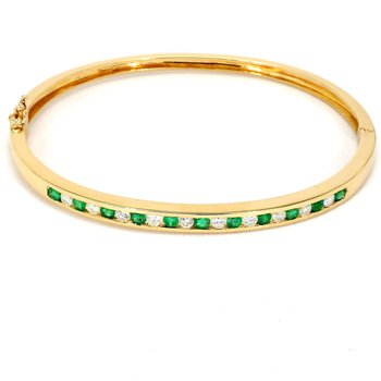 1 1/2ct Emerald & Diamond Bangle Bracelet