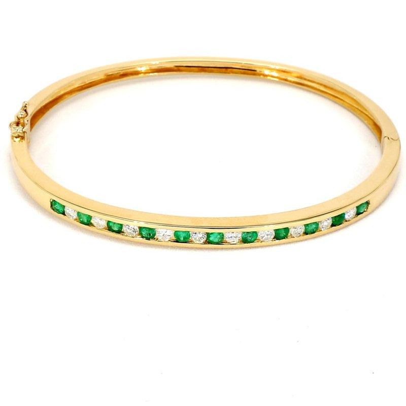 1 1/2ct Emerald & Diamond Bangle Bracelet
