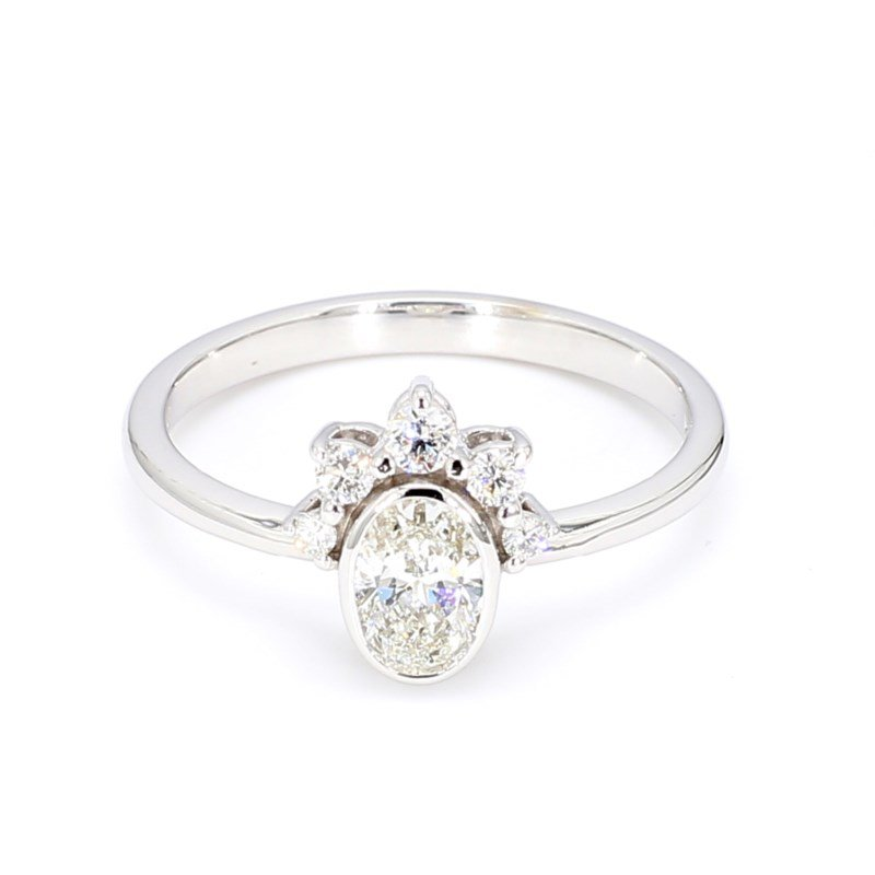 Offset Oval Crown Engagement Ring
