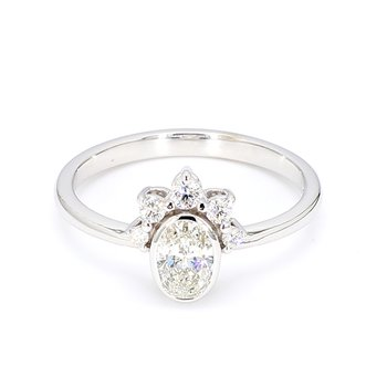 1/2ct Oval Crown Engagement Ring