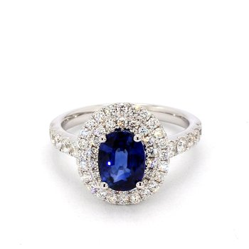 2 1/4 Carat Sapphire Double Halo Ring
