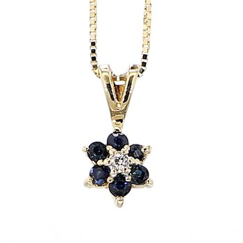 Sapphire And Diamond Flower Pendant