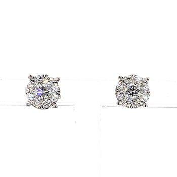 1/2 Carat Round Diamond Halo Earrings