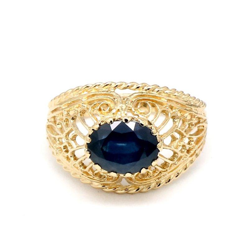 Estate Filigree 2 1/2 Sapphire Filigree Ring