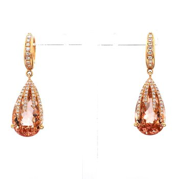 14.65ct Morganite And Diamond Earrings