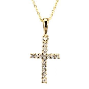 .07ct Diamond 14 Karat Yellow Gold Cross Pendant 16.83mm X 7.75mm