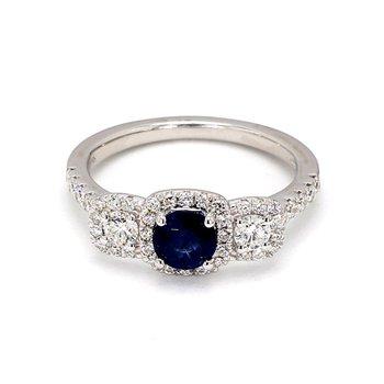 1 1/3ct Blue Sapphire & .61 Diamond 3 Stone Ring