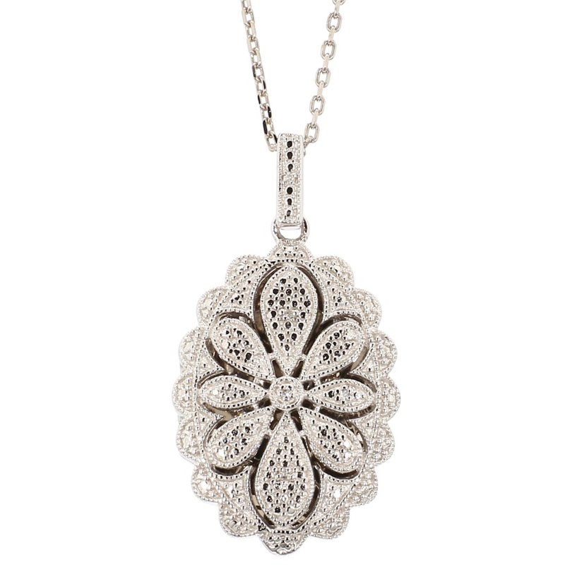 .02 Carat Diamond Sterling Silver Locket Pendant