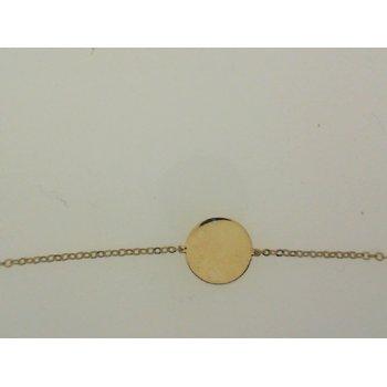Yellow Gold Round Disc Bracelet