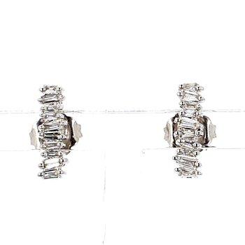 1/5ct Diamond Stud Ear Climber Earrings