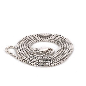 "18"" 1mm Box Chain White Gold"