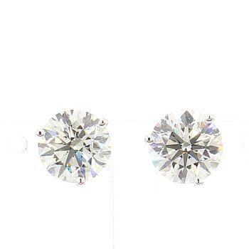 3 Carat Round Brilliant Diamond Stud Earrings.