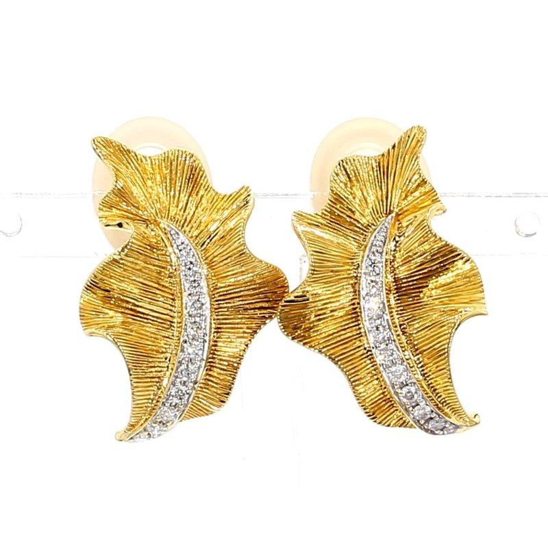 Floral Diamond Leaf Earrings