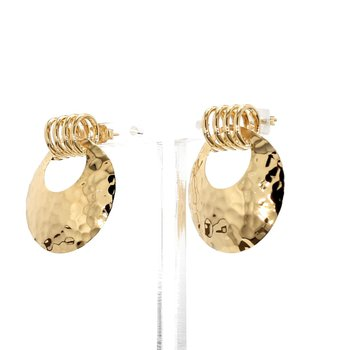 14KT Yellow Gold Hammered Disk Estate Earrings