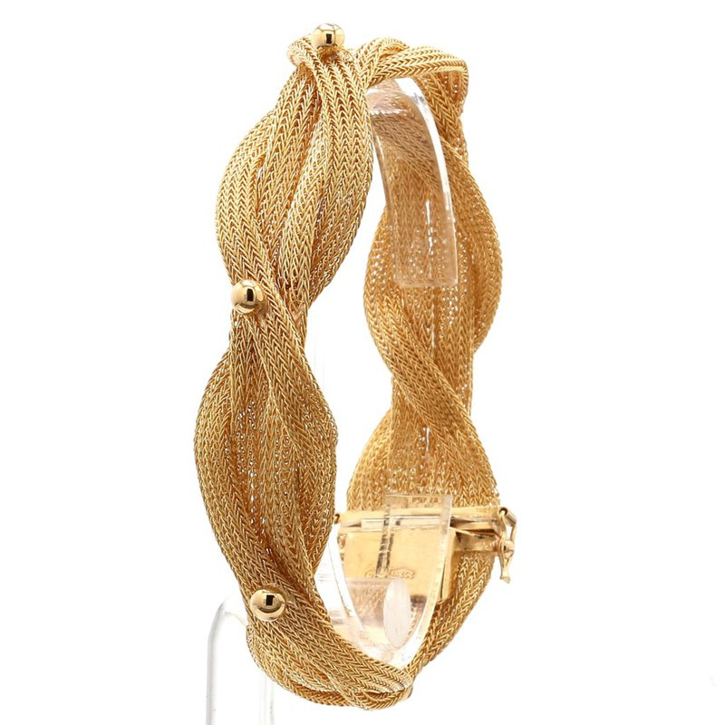 18KT Yellow Gold Heavy Weight 4 Strand Woven Bracelet