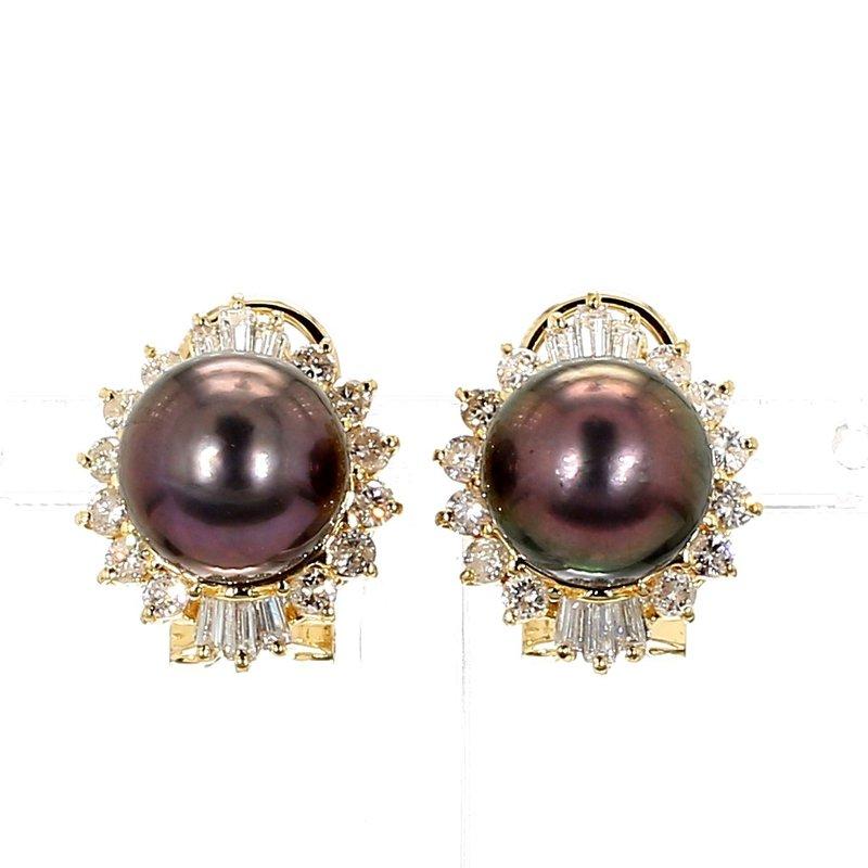 1.0ct Diamond & 10-10.5MM Grey Pearl Lever Back Earrings