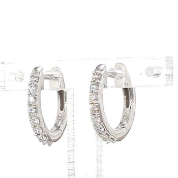 1/4 Carat Diamond Hoop Earrings 2mm X 13mm
