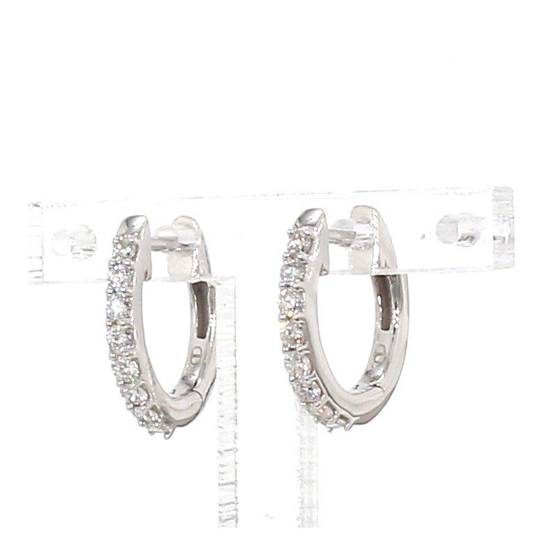 1/4 Carat Diamond Hoop Earrings 2mm X 13mm