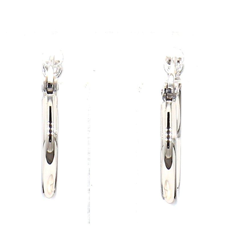 14 Karat White Gold Small Hoop Earrings