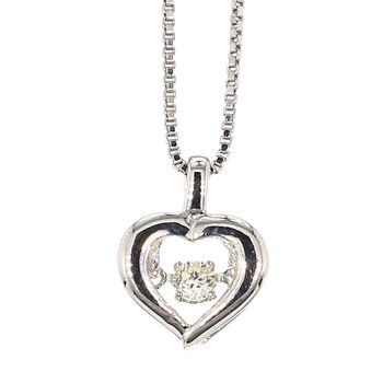 .07ct  Diamond Heart Sterling Silver Pendant 18""