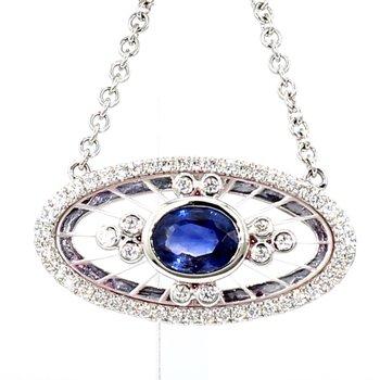 Blue Sapphire, Crystal And Diamond Pendant
