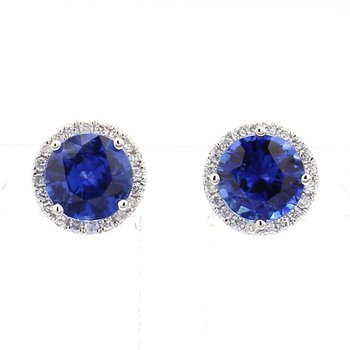 2ct Sapphire & Diamond Halo Earrings