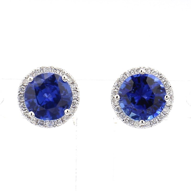 2ct Sapphire & Diamond Halo Earrings