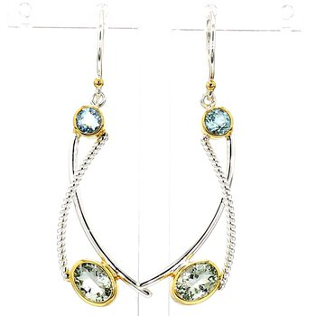 .925 Sterling Silver & 22 Karat Yellow Gold Vermeil Earrings With Gemstones