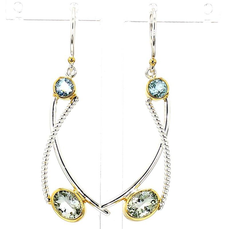 .925 Sterling Silver & 22 Karat Yellow Gold Vermeil Earrings With Gemstones