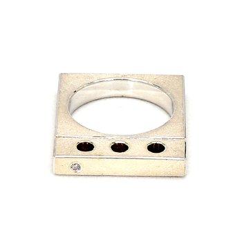 .02ct Diamond Sterling Silver Modern Ring