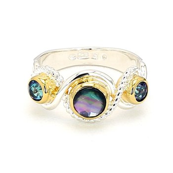 Sterling Silver And 22 Karat Yellow Gold Vermeil Ring With Mother Of Pearl, Onyx, Quartz And Topaz