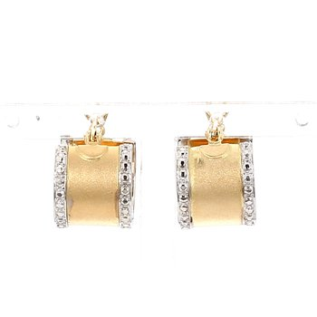 14KT Two Tone Estate 10mm Wide Huggie Earring