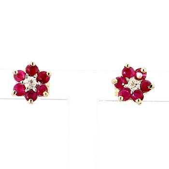 Flower Ruby & Diamond Earrings in Yellow Gold