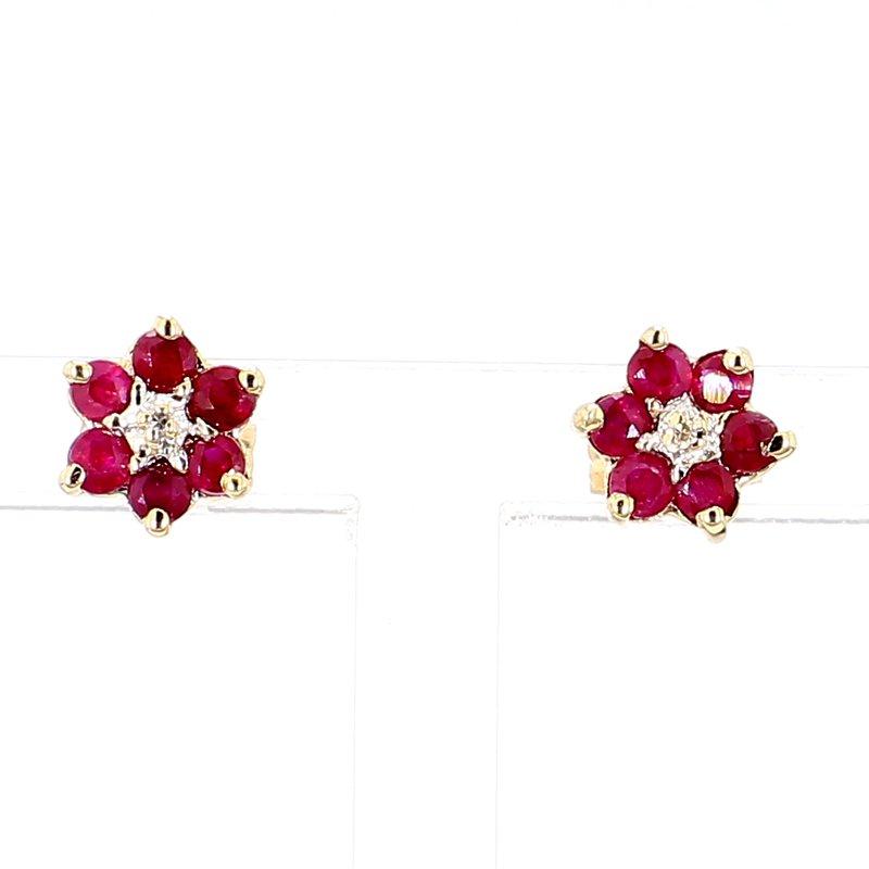 Flower Ruby & Diamond Earrings in Yellow Gold