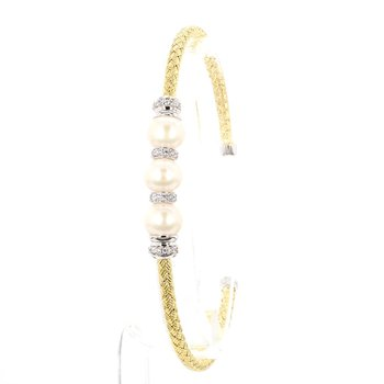 Sterling Silver Mesh Cuff With Freshwater Pearl And Cubic Zirconia Two Tone 18 Karat Yellow Gold and Rhodium Finish