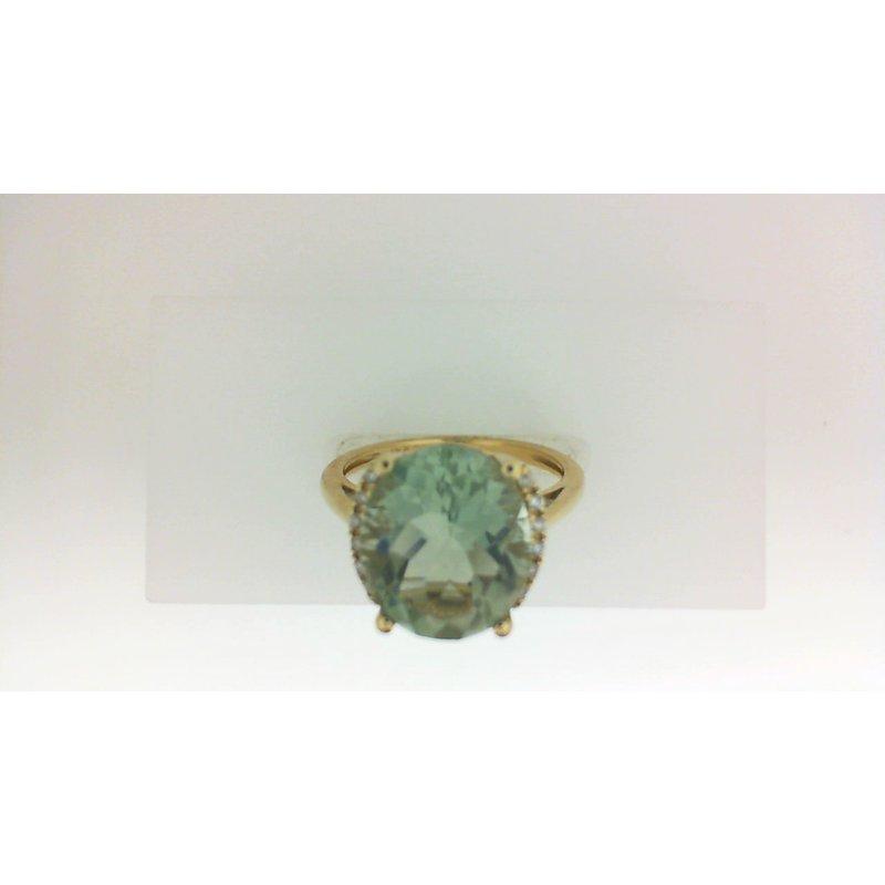 3.0ct Green Amethyst & Diamond Ring Size 7
