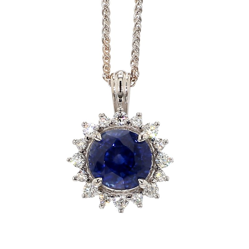3 1/10ct Blue Sapphire & Diamond Halo Pendant