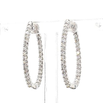 1ct Oval Inside Out Diamond Hoop Earrings