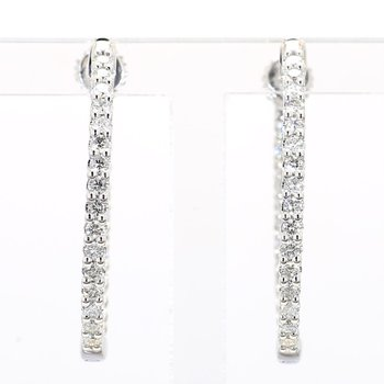 1ct Oval Inside Out Diamond Hoop Earrings