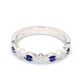 .46 Carat Diamond And Sapphire Wedding Or Anniversary Ring