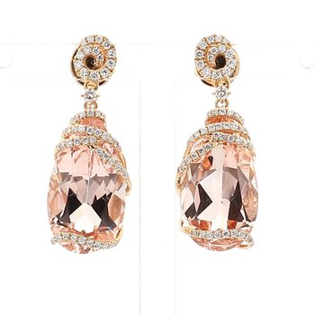 13.45 Carat Morganite And Diamond Earrings