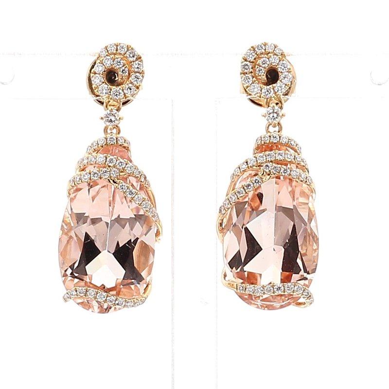 13.45 Carat Morganite And Diamond Earrings