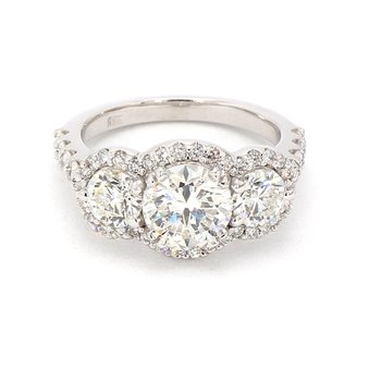 3ct Diamond 3 Stone Halo Ring