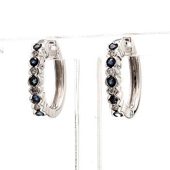 .65CT Sapphire & Diamond Hoop Bezel Set Hoop Earring