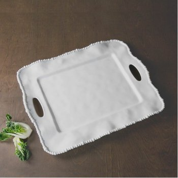 VIDA Alegria Rectangular Tray with Handles White
