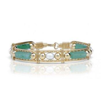 Green Jade, Pearl  Bead Bracelet,
