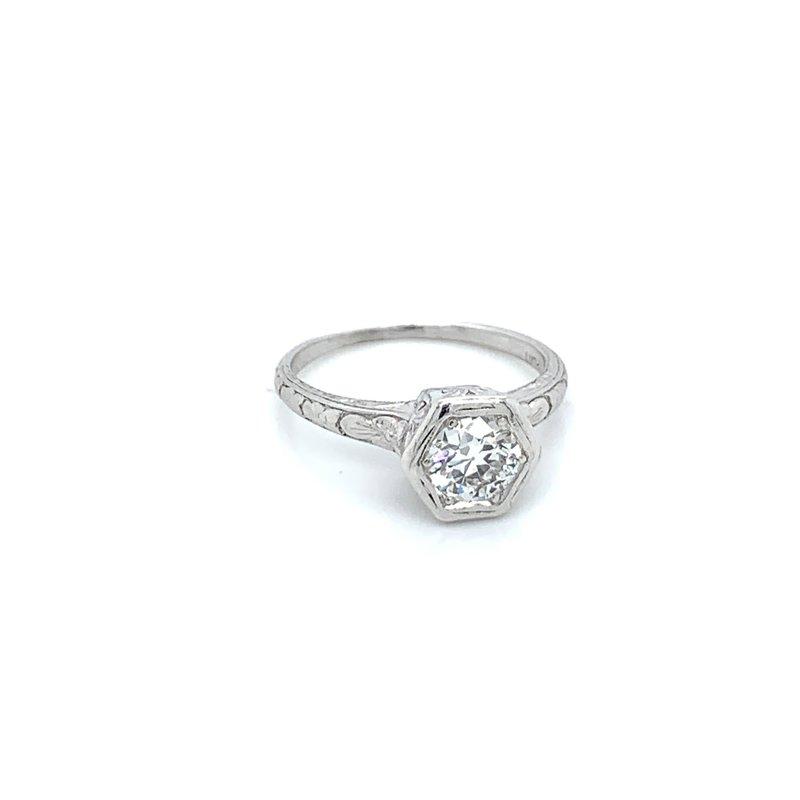 Orange Blossom Platinum Vintage Solitaire Ring