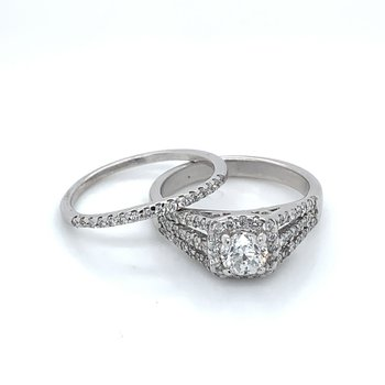 1.00ctw Diamond Split Shank Bridal Set