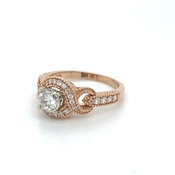 1.08ctw Rose Gold Engagement Ring w/ .73ct RBC